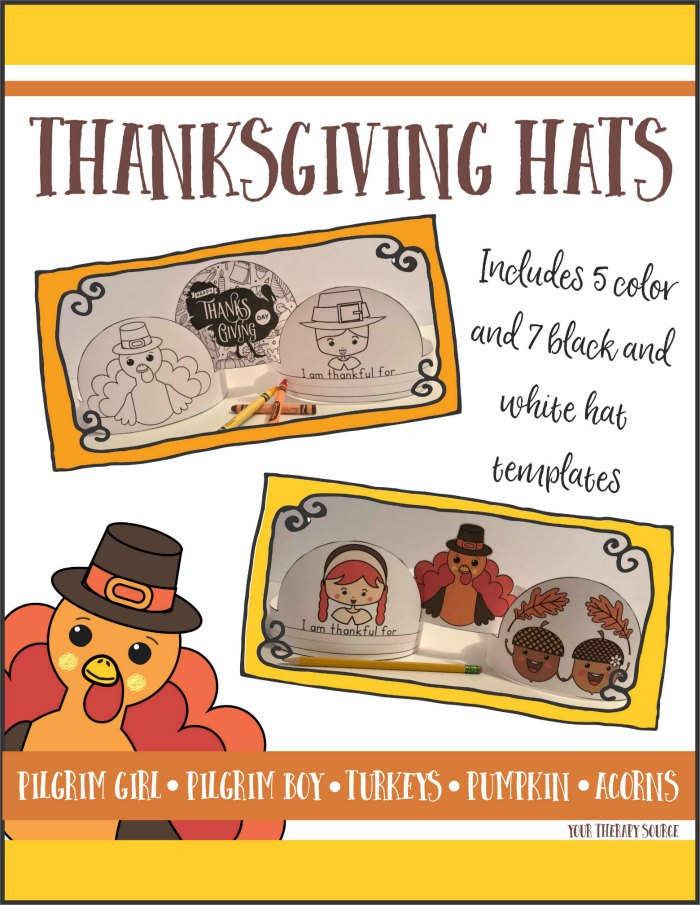 Thanksgiving Hats – Write, Color, Cut and Glue