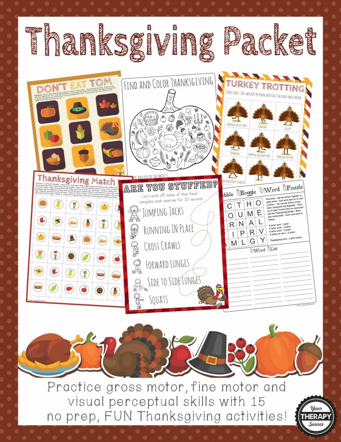 Thanksgiving Packet - Fine Motor, Gross Motor and Visual Perceptual Activities