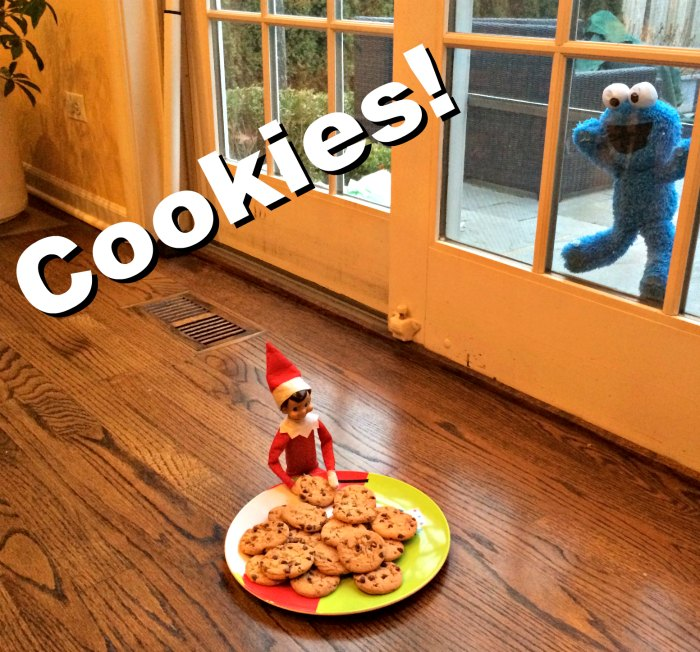 No one, not even the Elf on the Shelf, can keep Cookie Monster from the cookies | Mommy Evolution #elfontheshelfideas #elfontheshelf