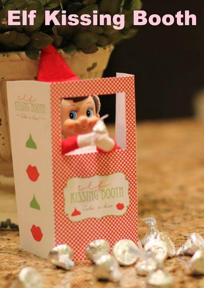 Elf Kissing Booth | Mommy Evolution #elfontheshelfideas #elfontheshelf