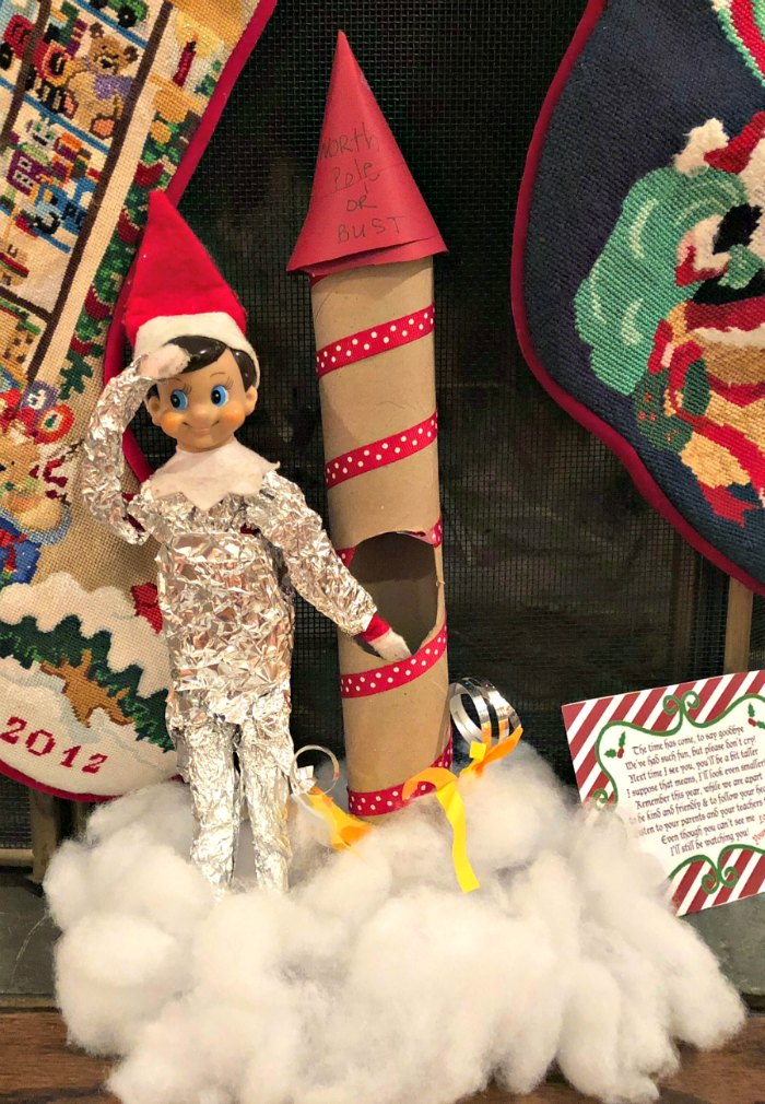 Ready for take off in his homemade rocket - Elf on the Shelf | Mommy Evolution #elfontheshelfideas #elfontheshelf