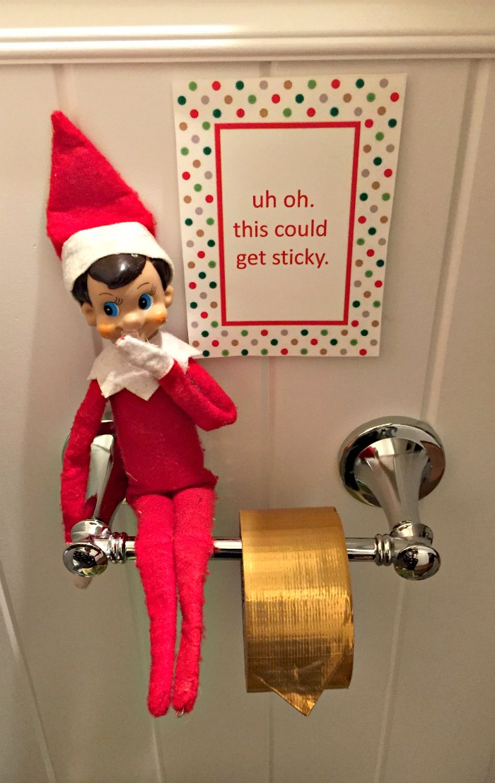 Naughty Elf hiding the toilet Paper | Mommy Evolution #elfontheshelfideas #elfontheshelf