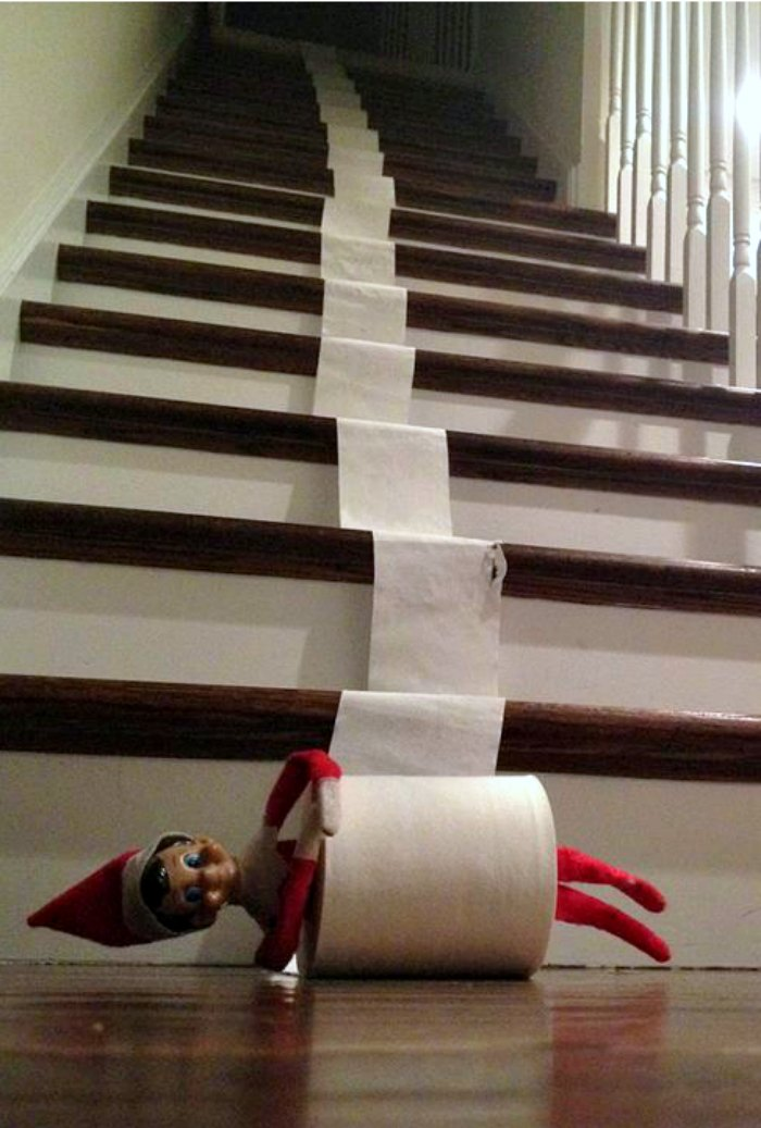 Naught Elf on the Shelf leaving a toilet paper trail | Mommy Evolution #elfontheshelfideas #elfontheshelf