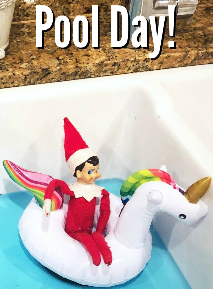 Pool Day for Elf on the Shelf with a Unicorn Floatie | Mommy Evolution #elfontheshelfideas #elfontheshelf
